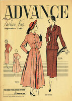 1940s Vintage Advance Fashion News Sewing Pattern Flyer 8 Pages September 1949