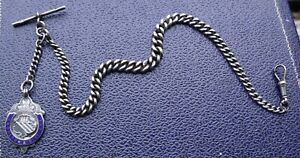 ANTIQUE STERLING SILVER CHESTER 1913 SINGLE ALBERT POCKET WATCH CHAIN & FOB.