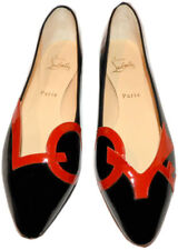 Christian Louboutin LOVE Black Red Patent Leather Ballet Flats Ballerina Shoe 39
