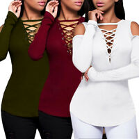 Womens Sexy Solid Lace Up V-Neck T-Shirt Slim Long Sleeve Tops Blouse Pullovers