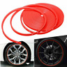 26 FT Red Car Rubber Strip Wheel Hub Rim Edge Protector Ring Tire Guard Sticker