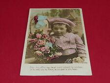 CPA CARTE POSTALE 1906 GARCON PANIER DE ROSES VOEUX BONNE ANNEE