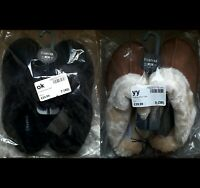 OFFICIAL FIRETRAP Ladies Suede Faux Fur Slip on Slippers 5 Tan 7 Black Mules NEW