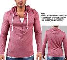 T-Shirt a Manica Lunga con Cappuccio Uomo Moda Slim Fit Maglia in Cotone Stretch