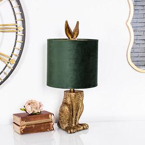 Antique Gold Hare Lamp Side Table Resin Green Velvet Vintage Hallway Home Chic
