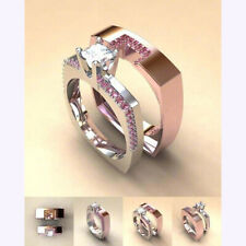 Women Ladies Sweet Pink Round Sapphire Rings Party Engagement Promise Jewelry DP