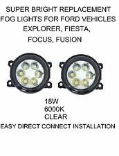CLEAR LED REPLACEMENT FOG LIGHTS LAMPS FORD EXPLORER FUSION FOCUS 4F9Z15200AA