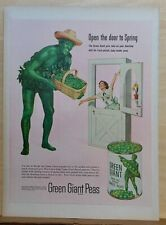 1953 magazine ad for Green Giant Peas - Jolly Giant delivers to housewife