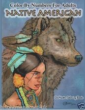 Native American Adult Colouring Book Colour By Number Wolves Culture Fantasy