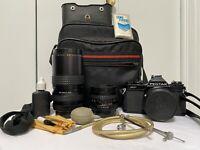 PENTAX ASAHI MV Camera Lens SMC PENTAX-M 1:2 50mm Focal MC 1:2.8, Case, 2 Lenses