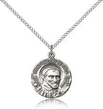 """Saint Vincent De Paul Medal For Women - .925 Sterling Silver Necklace On 18"""" ..."""