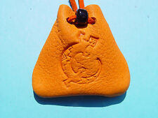 Lizard Gecko Medicine Bag Southwest Gold Leather Buckskin Necklace 1016