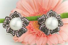 Schmuck Ohrringe Ohrstecker Blume Süßwasserzuchtperlen Kunzit Diamanten Weißgold