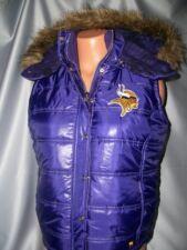 Rare Victorias Secret Pink Bling Minnesota Vikings Fur Hooded Puffer Ski Vest S