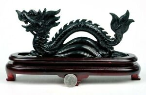 Natural Black Nephrite Jade Chinese Dragon Statue / Carving Sculpture