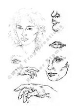 Rubber Stamp UM Set of 7  Face Lips Eyes Hands Man Woman Collage Face Profile
