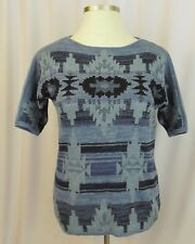 CHAPS XL Womens Southwestern Boatneck Sweater X-Large Blue Aztec short sleeve