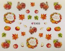 Nail Art 3D Decal Stickers Thanksgiving Turkey Pumpkins Fall Leaves Apples E455