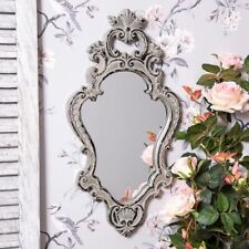Grey Ornate Mirror French Rococo Style Wall Mounted Glass Vintage Hallway Home