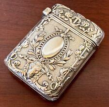 RAM'S HEAD~FRENCH Sterling Silver MATCH SAFE BOX VESTA NOUVEAU Victorian ANTIQUE