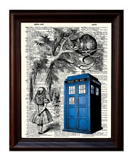 Tardis and Cheshire Cat - Dictionary Art Print Printed On Authentic Vintage
