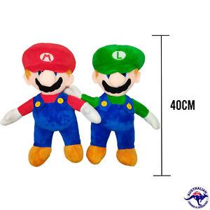 40CM Mario and Luigi Plush Soft Toy Plushie Kids Gift Present AU STOCK