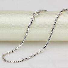 """New Pure 18K White Gold Necklace Unique Tube Design Elegant Chain15.7""""L 1.3mmW"""