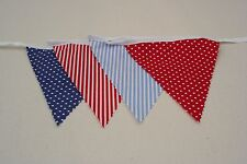 Ahoy There Blue & Red Spot & Stripe Bunting single side 6m long