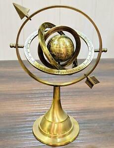 Brass Celestial Globe Armillary Globe Showpiece, Brass Armillary Sphere Decor 12