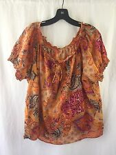 CHAPS RALPH LAUREN Peasant Blouse Womens 3X Orange Paisley Boho Top Shirt EUC