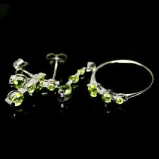 NATURAL PERIDOT STERLING 925 SILVER EARRINGS PENDANT RING SET Round RS 6.75