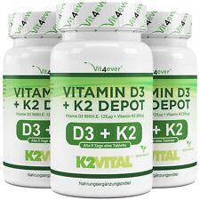 3x Vitamin D3 5000 I.E. & Vitamin K2 200mcg = 540 Tabletten MK-7 Menachinon-7 IU