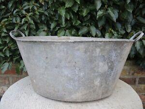 Large  Vintage Galvanised Garden Planter Tin Bath 58 cm long (413)