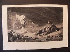 Visione S. Francesco Assisi Giroux Chartran acquaforte originale 1880