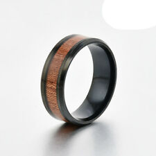 8mm Mens Band Ring Tungsten Steel Wood Couple Stainless Steel Silver Inlaid