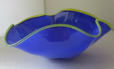 RARE EARLY SIGNED GATESON RECKO BLUE ART GLASS BOWL 1997