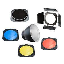 PhotoSEL FRS558BN Standard Reflector with Barndoor Grid Colour Gel Set - 55 D...