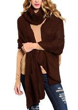 Brown Knit Winter Scarf Neckwarmer Set w/ Pockets 2 Pc