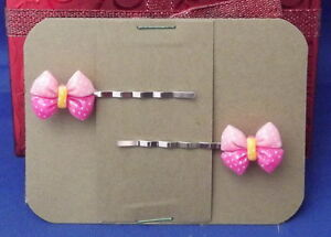 PINK BOW Handmade Bobby PIn Hair clips - Set of 2 SALE