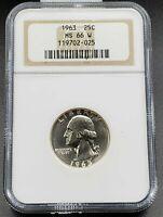 1963 P Washington Silver Quarter Coin NGC MS66 RARE W WHITE Brown label Gem NGC