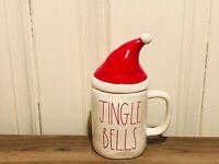 Rae Dunn Christmas By Magenta JINGLE BELLS Mug with Red Hat Mug Topper HTF