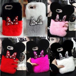 Cute Minnie Mickey Bowknot Bling Diamond Plush Fuzzy Soft Rabbit Fur Case Cover