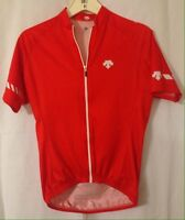 Descente Cycling Jersey Red Full Zip Polyester Medium