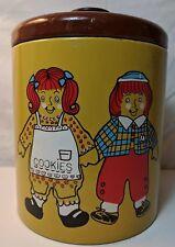 Vintage Ransburg Cookie Tin Raggedy Ann & Andy Metal