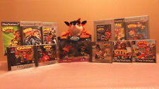 LOT COLLECTION CRASH BANDICOOT 11 JEUX PS1/PS2 1/2/3 CTR ETC..+ FIGURINE + PLUSH