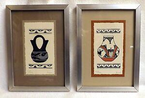 Karen Brueggemann, Pair of Limited Edition Serigraphs of San Ildefonso Pottery
