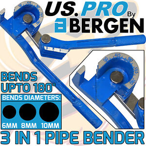 US PRO Pipe Bender Tube Bending Tool 3 in 1 180° Degrees Brake Fuel 6mm 8mm 10mm