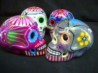 Lot of 4 day of dead Sugar Skulls, Mexican pottery, Talavera, catrina, muertos,