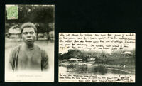 Gabon Cards Pair of Early Picture Cards Rare 1907 Vintage