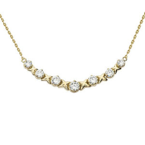 1.00 CTW XOXO Necklace in 14k Yellow Gold